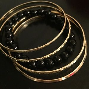 Little Something Bracelet Bundle in Black & Gold